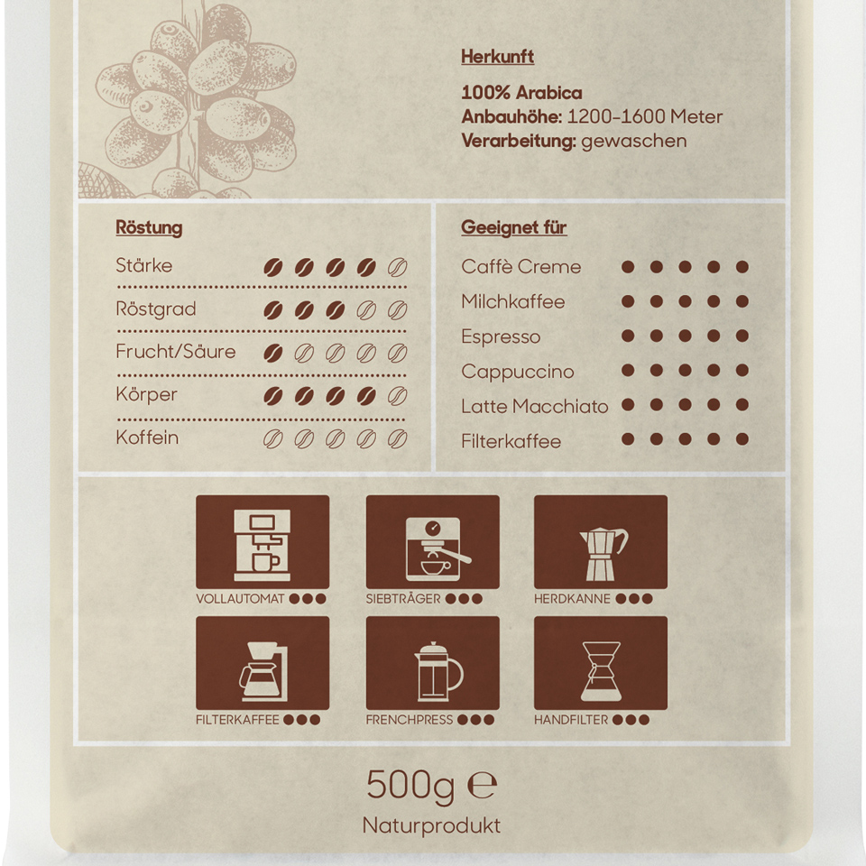 Koffeinfreier Caffè, hausgeröstet - ganze Bohnen